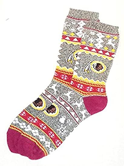 a0bc8411 Washington Redskins NFL MENS Ugly Christmas Football Crew Length Socks Large