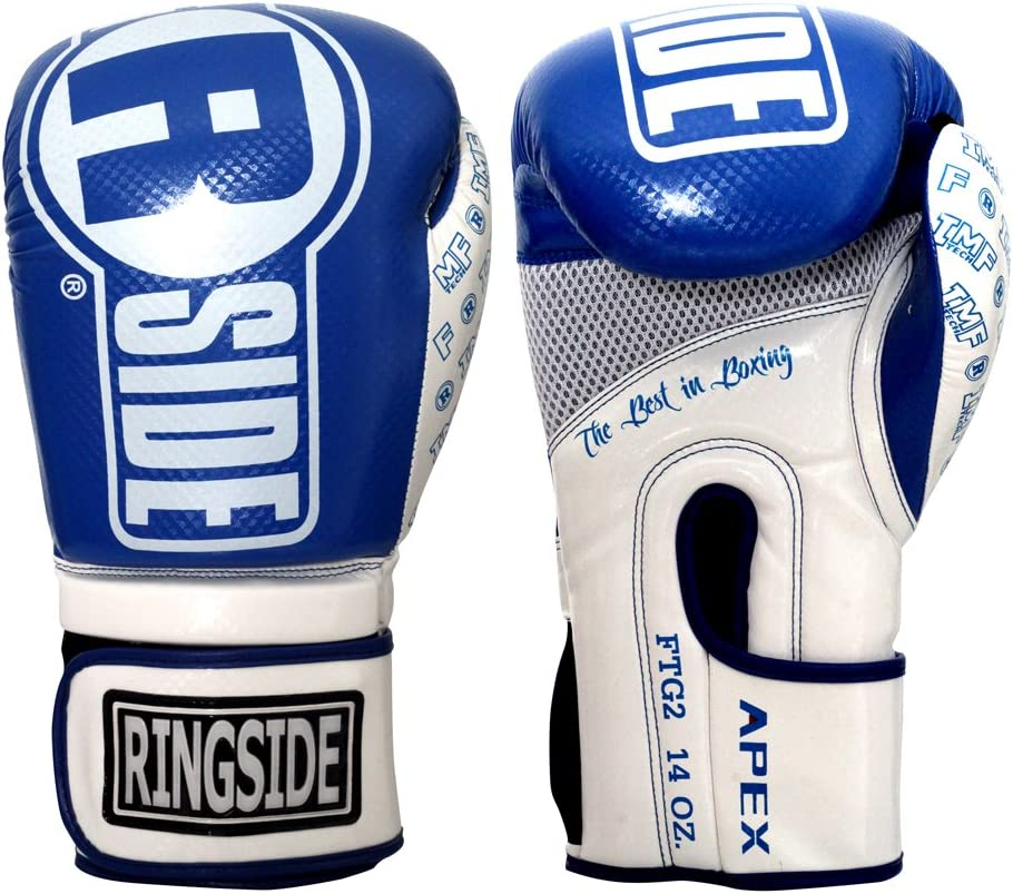 Ringside Apex Flash Boxing Training Sparring Gloves, BL/WH, 16 oz