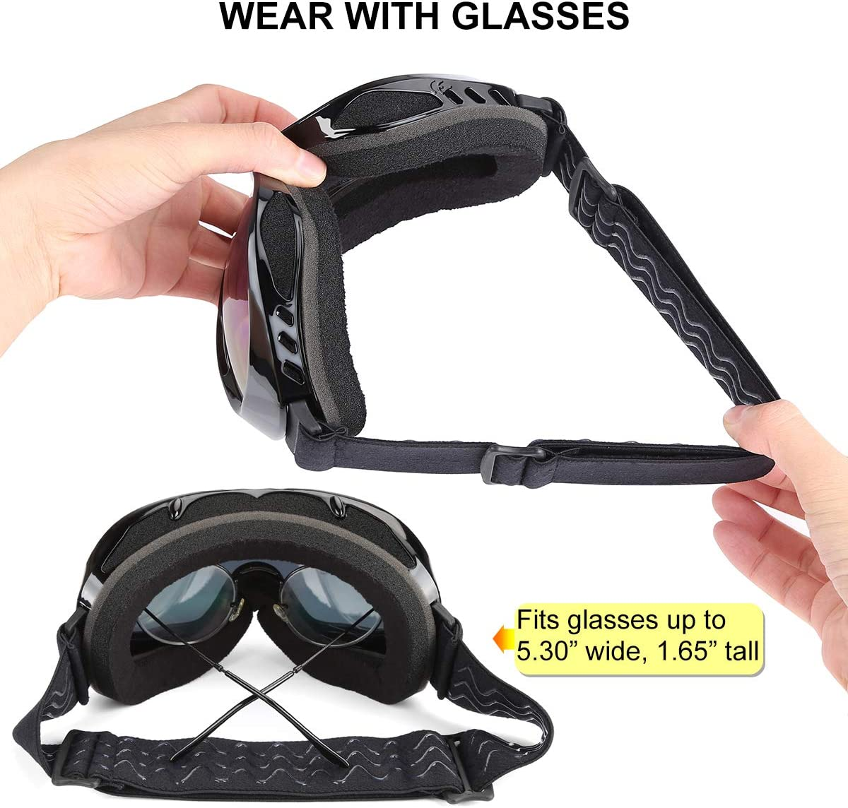 Kungber Ski Goggles,Winter Snow Sports Snowboard Over Glasses Goggles with Anti-Fog UV Protection Double Lens for Men Women Youth Snowmobile Skiing Skating