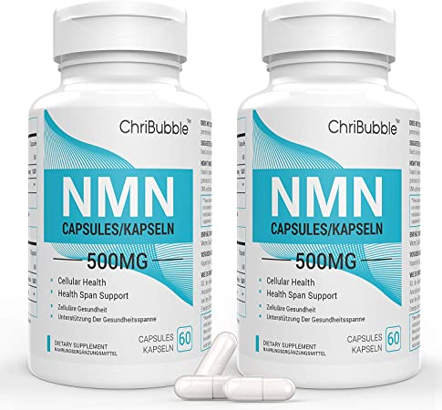 NMN Stabilized Form Supplement, Supports NAD, Longevity & Energy, 500mg Per Serving (Nicotinamide Mononucleotide) (2 Pack 120 Capsules)