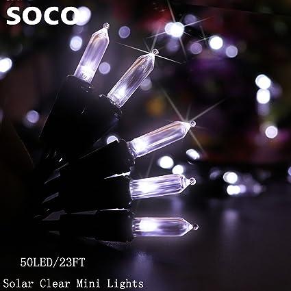 Solar String Lights 50 LED M5 Clear Mini Fairy Christmas Lights Decor Timer Outdoor Christmas & Amazon.com : Solar String Lights 50 LED M5 Clear Mini Fairy ...
