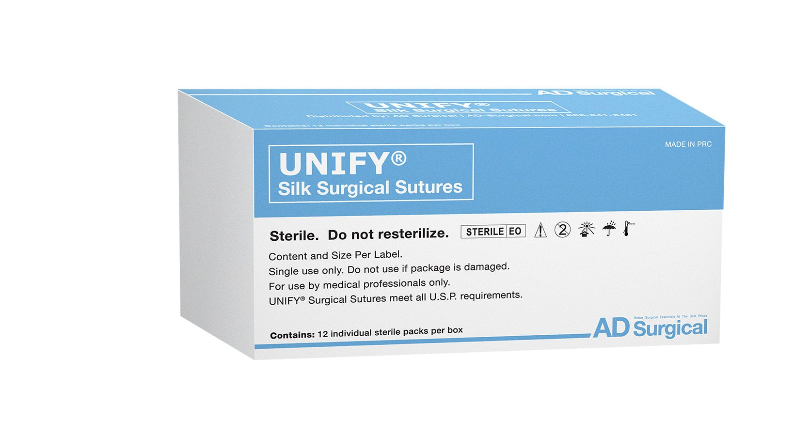 UNIFY Surgical Silk Sutures. #M-S318R19 Non-Absorbable. Braided Black. Size 3/0. 18'' 45cm Thread. 19mm 3/8 Circle R/C Needle (FS-2/C-6). 12 Foil Packs/Box.