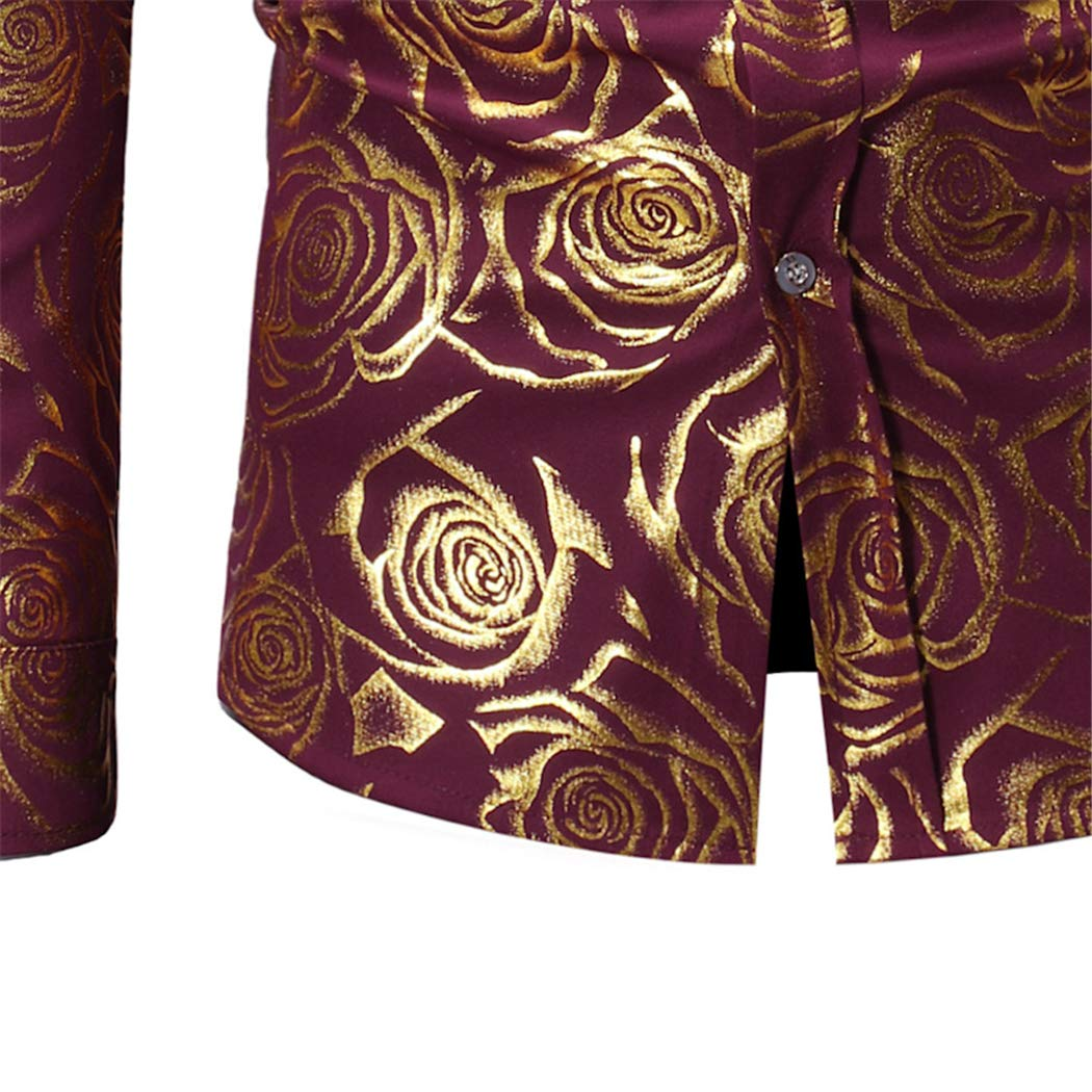 HOP Fashion Mens Luxury Gold Paisley Shirts Long Sleeve Slim Fit Button Down Dress Shirts for Wedding//Party//Night Club