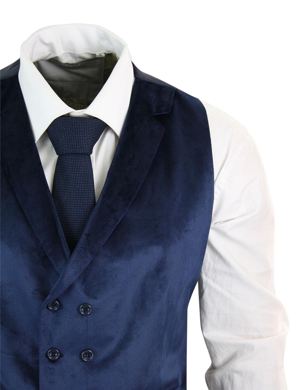 Gilet Da Uomo Doppio Petto Vellutato 1 Bottone Slim Fit Elegante da Party Blu 44