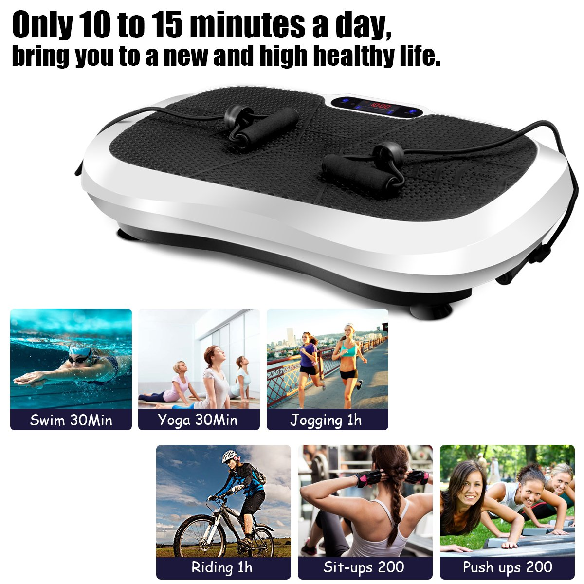Goplus Fitness Vibration Machine Ultrathin Power Plate Full Body Shape Exercise Machine with Bluetooth Remote Control & Resistance Bands Vibration Workout Trainer (White) by Goplus (Image #6)