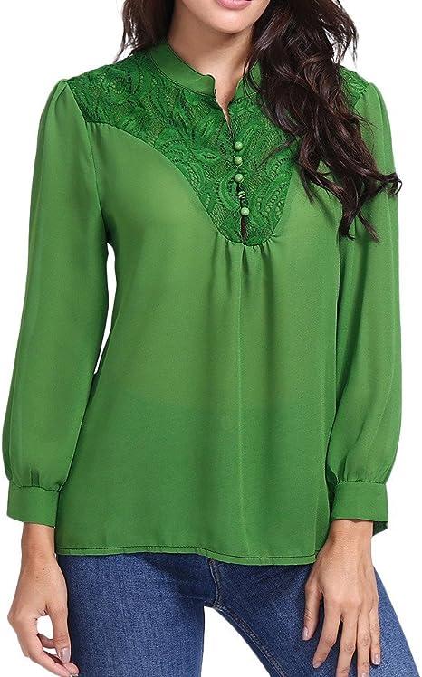 mvpkk camisa mujer encaje botones cuello V camisetas camisa de manga larga camisa para mujer Chic Camisa Mujer Creux Pull – Sudadera – Mujer Camiseta Tops Camisa XXL verde: Amazon.es: Grandes electrodomésticos