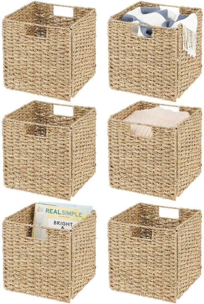 "mDesign Natural Woven Seagrass Closet Storage Organizer Basket Bin - Collapsible - for Cube Furniture Shelving in Closet, Bedroom, Bathroom, Entryway, Office - 10.5"" High, 6 Pack - Natural/Tan"