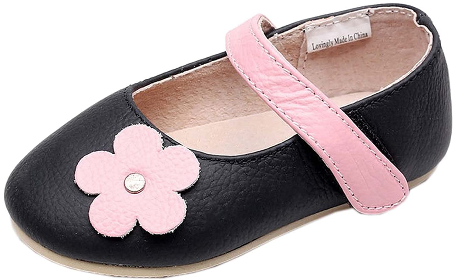 Jiazibb Baby Girls Lovely Velcro Genuine Cow Leather Flowers Toddler First Walkers Shoes Sneakers