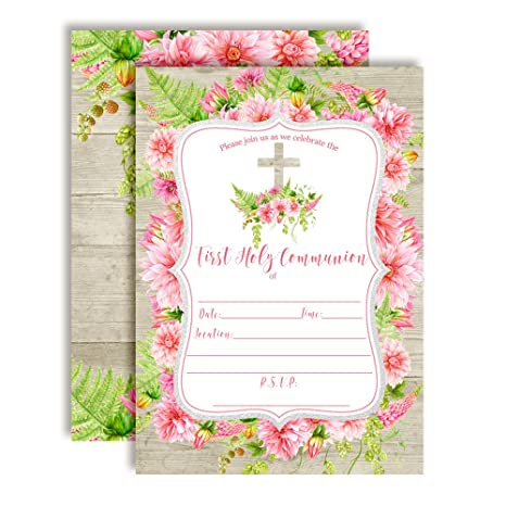 Amazon Com Watercolor Pink Dahlia First Holy Communion Religious