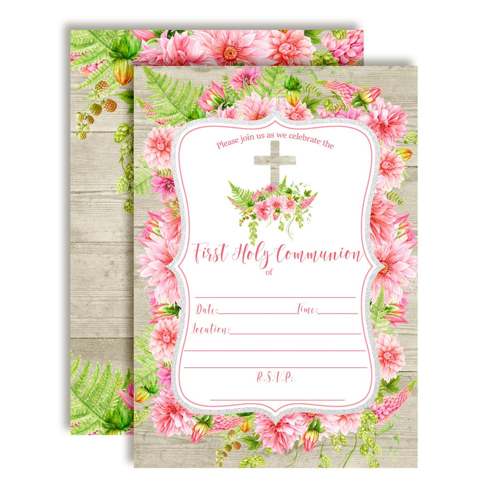 Watercolor Pink Dahlia First Holy Communion Religious Party Invitations with Wood Background, Ten 5''x7'' Fill In Cards with 10 White Envelopes by AmandaCreation