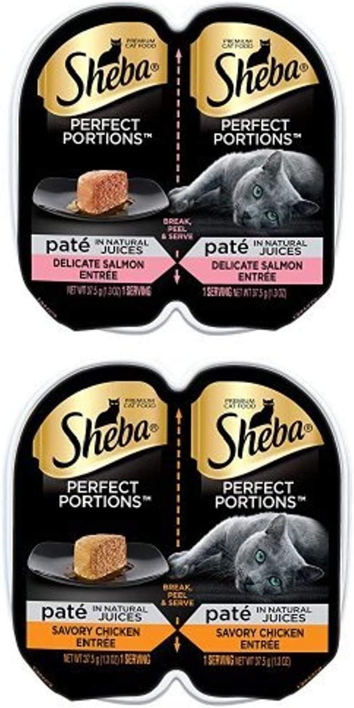 Sheba Perfect Portions Paté In Natural Juices Delicate Salmon And Savory Chicken Entrée Grain Free Cat Food 2.6 Ounces (48 Twin Packs)