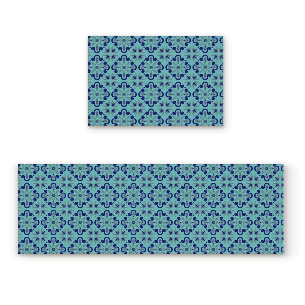 BMALL キッチンラグ マット 2枚セット ネイビー アンカー 内側 外側 エントランス ラグ ランナー ラグ 室内装飾 23.6x35.4in+23.6x70.9in 20181026LCZBMALLMD2SLEX00612MDDDBML 23.6x35.4in+23.6x70.9in Blue15bml0729 B07JQFQ395