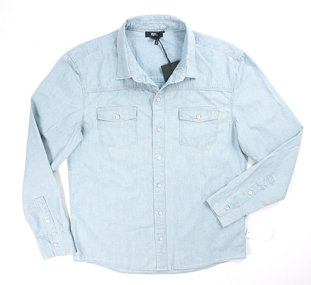 PAIGE Mens Hunter Button Down Denim Shirt