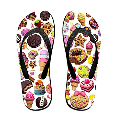 54344ea7c5f Amazon.com  Couple Flip Flops Healthy(Junk) Food Print Chic Sandals ...