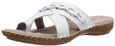 Jana Damen 27108 Offene Sandalen mit Keilabsatz, Weiß (White 100), 37 EU