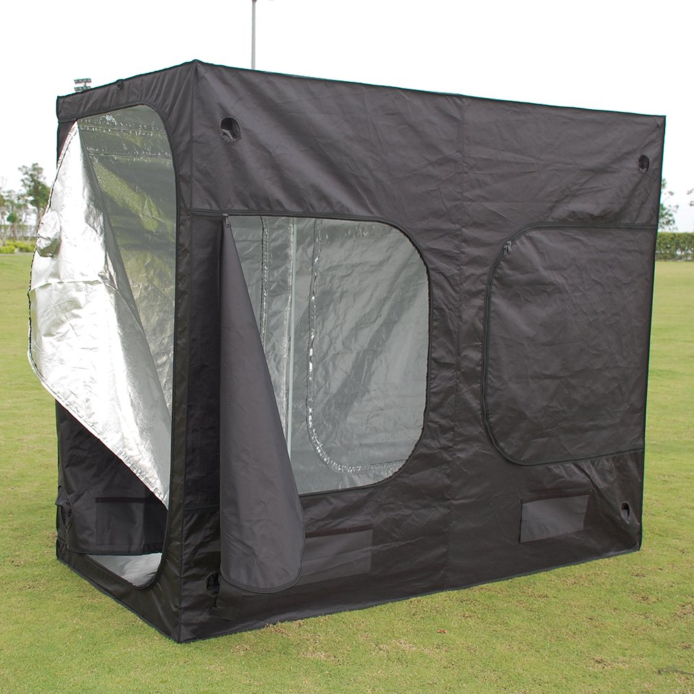 TataYang Hydroponic Grow Tent Grow Room Premium Garden Greenhouses Universal Durable 240x120x200CM Black