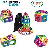 [Upgraded Version] DISCOVERY KIDS 51 Piece Best Magnetic Tile Set, Magnetic Building Blocks Kit for Boys/Girls, 2D, 3D Educational Creativity, STEM Toys for Children, Storage Bag Included