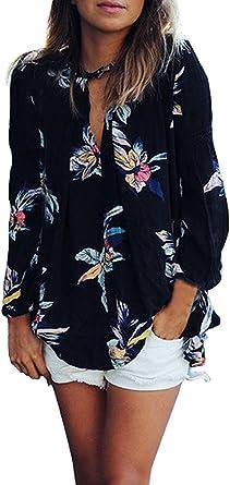 Camisas Mujer Manga Larga Negras Gasa Elegantes Vintage Estampadas ...