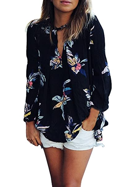 Camisas Mujer Manga Larga Negras Gasa Elegantes Vintage Estampadas Flores Hippie Suelto Fashion Casual Primavera Otoño Blusas Blusones Camisetas Tops: ...