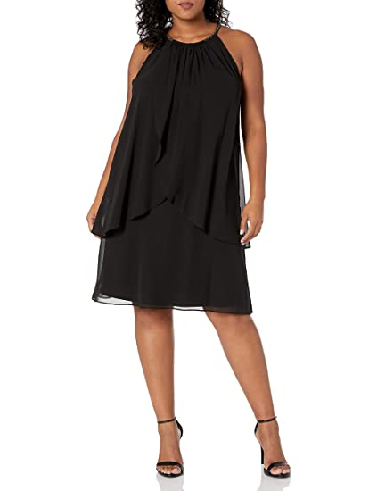 Fashions Womens Plus-Size Embellished Halter Neck Tier Dress S.L