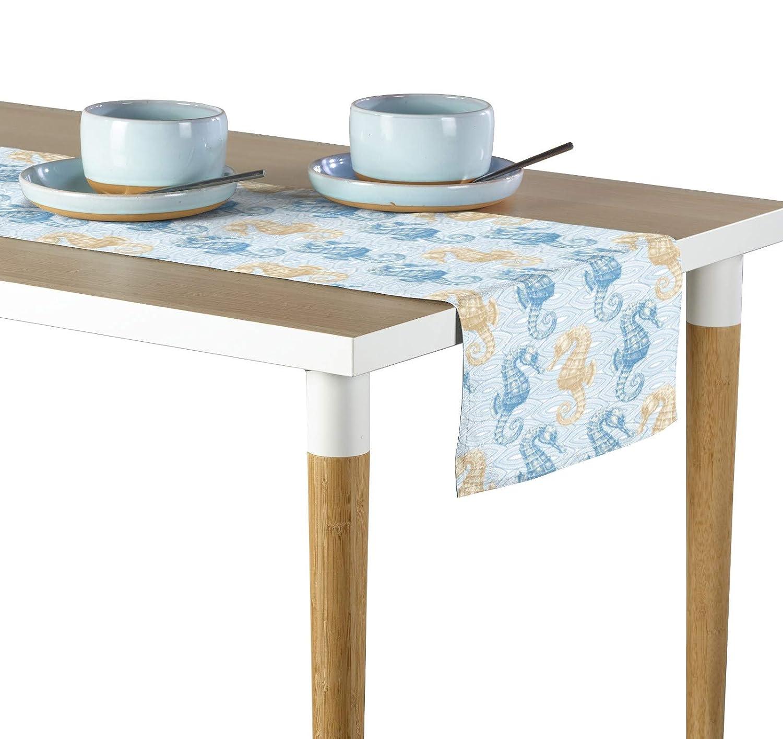 Marine Life SeahorsesブルーMilliken署名テーブルランナー – 各種サイズ 14