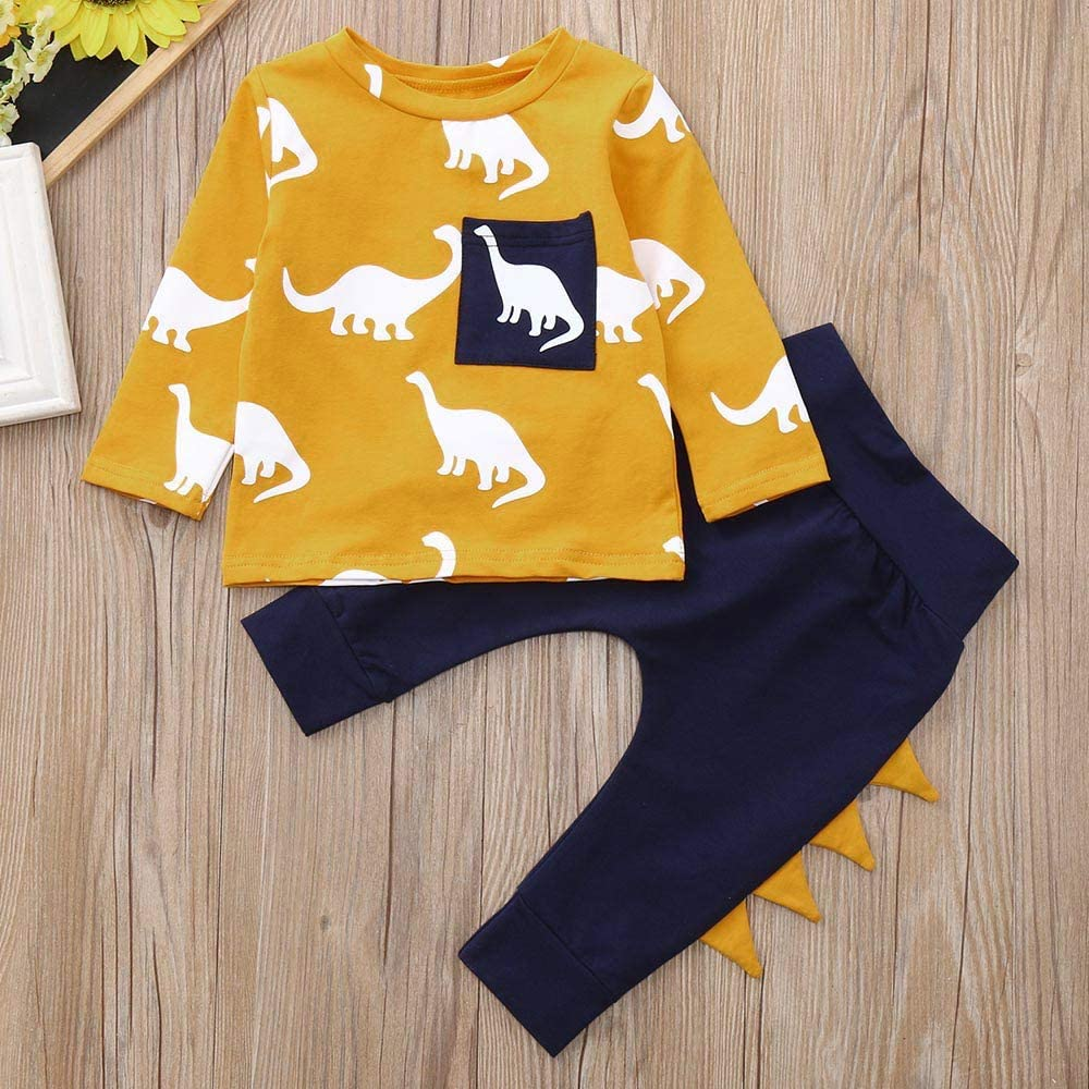 kaiCran Baby Boys Dinosaur Clothes Outfits Sets Cotton Long Sleeve Tops Pants Casual Clothing