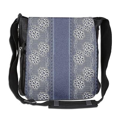 Lovebbag Blue Jeans Background With White Flower Motifs Pattern Crossbody Messenger Bag