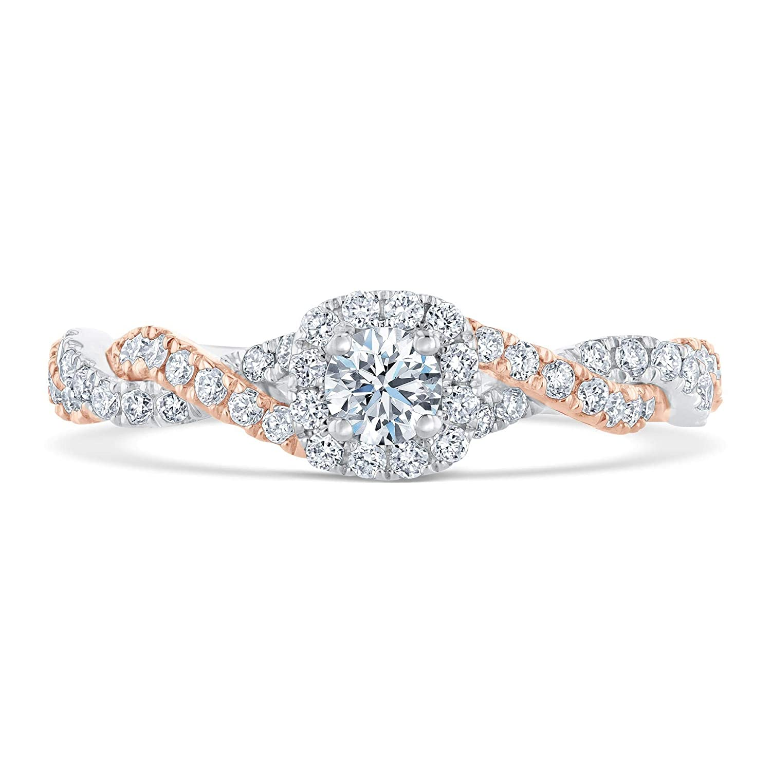 eab98c8944d94b Ellaura Blush Two-Tone Twisted Band Diamond Halo Engagement Ring 3 4ctw