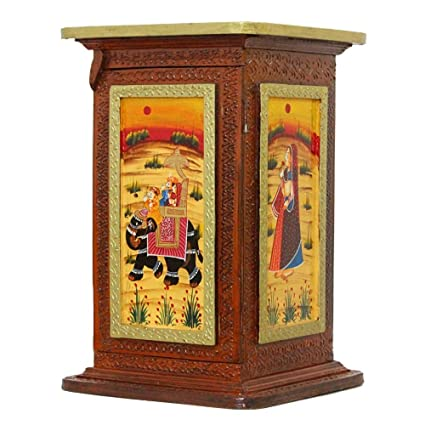 Beau APKAMART Hand Crafted Wooden Side Corner Pillar Cum Almirah Cabinet   18  Inch Height   Handicraft