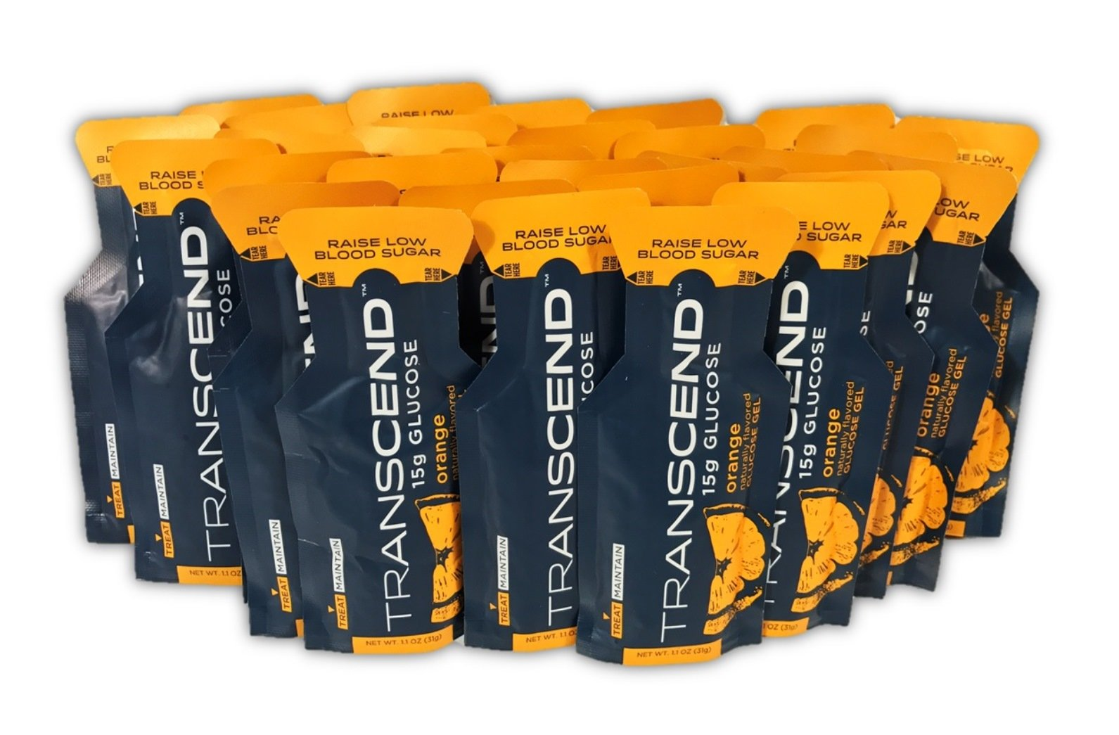 TRANSCEND Orange-Flavored Glucose Gels - 15gram packets (30)