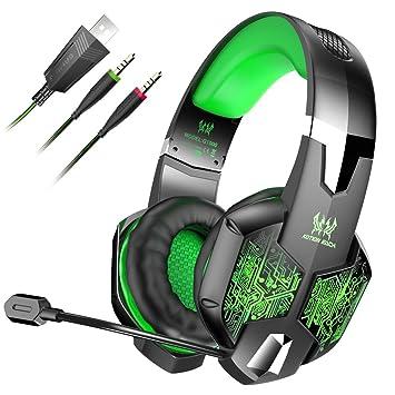 Lingear Auriculares Gaming Cascos Ps4 con Micrófono Ajustable, Sonido Envolvente Bass Over-Ear,