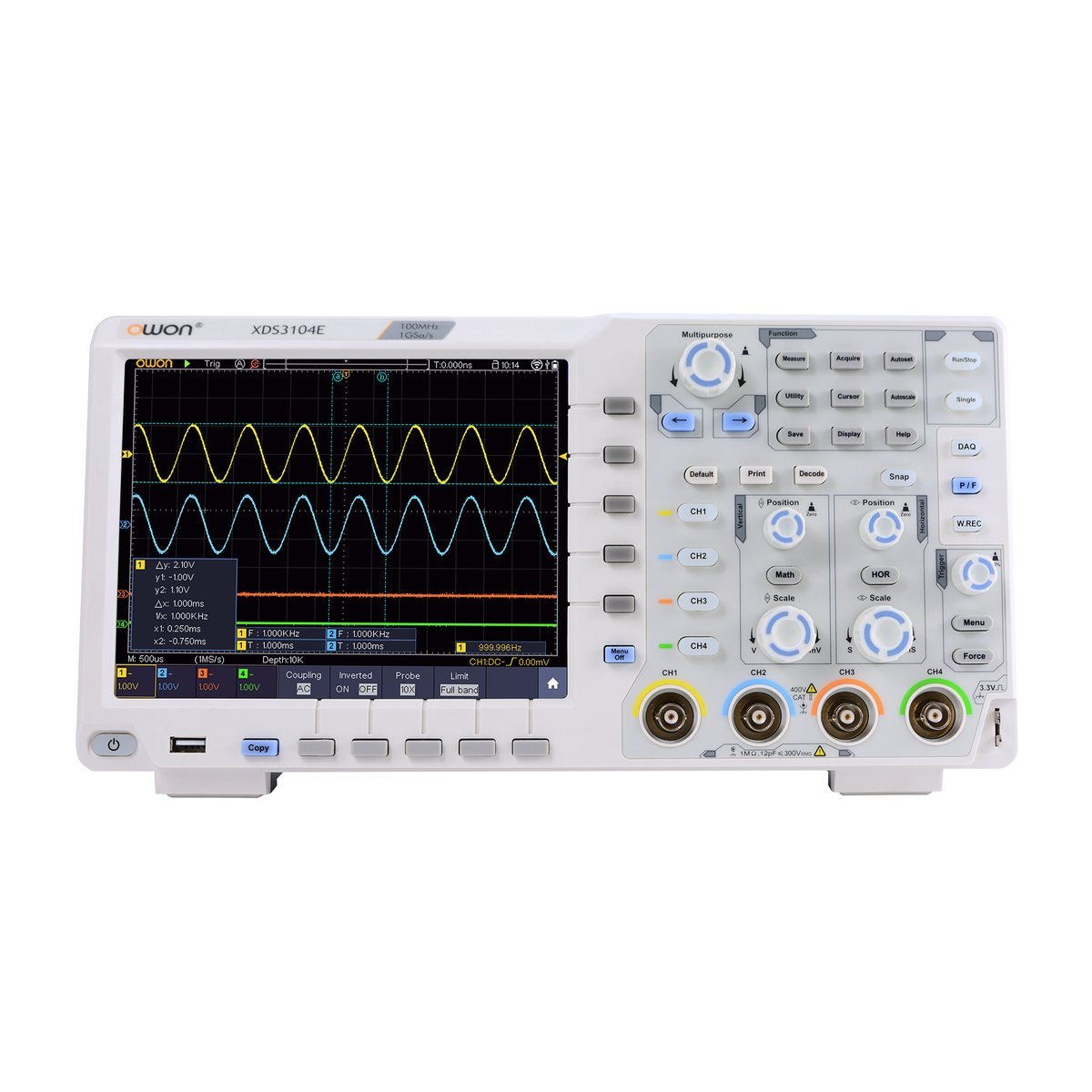 OWON XDS3104E Digital Oscilloscope 100Mhz DSO 4 Channels 1GS