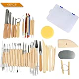 Lzndeal 45pcs Set di strumenti per scolpire ceramica e argilla in legno con custodia in plastica