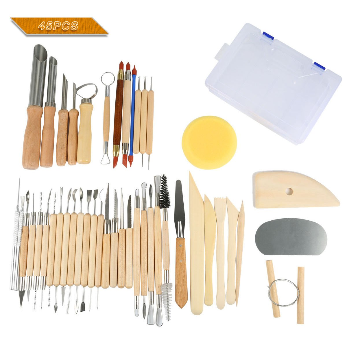 Hotab 45pcs Set Wooden Pottery & Clay Sculpting Tools with Plastic Case by Hotab (Image #1)