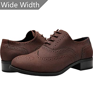 f8f62c261d Aukusor Women s Wide Width Flat Oxfords - Classic lace up Low Heel Platform Dress  Shoes.