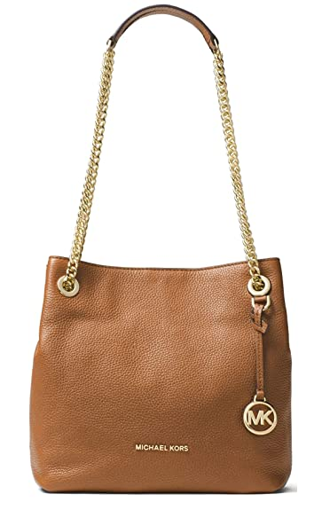 7c0843592c887 Michael Kors Womens Jet Set Chain Pebbled Leather Shoulder Handbag Brown  Medium