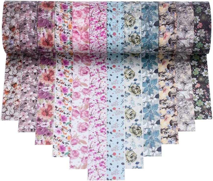 Antner 12 Rolls Floral Washi Tape Decorative Masking Tape Japanese Paper Tapes for DIY Projects Arts Crafts Scrapbooks Journaling and Calendar