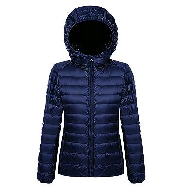 Belloo Damen Daunenjacke Steppjacke Übergangsjacke zusammenklappbar leicht Winter Warm Jacke mit Kapuze
