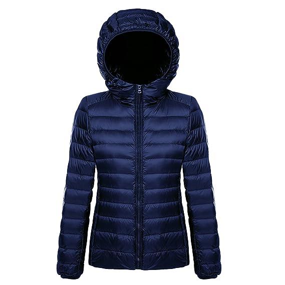size 40 f798a 45c95 Belloo Damen Daunenjacke Steppjacke Übergangsjacke zusammenklappbar leicht  Winter Warm Jacke mit Kapuze