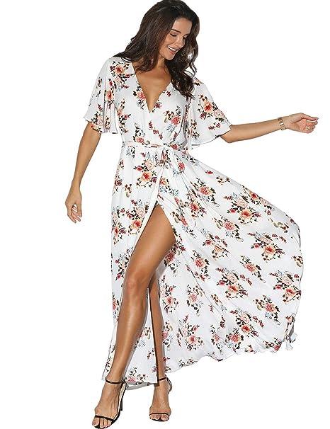 87e423ec7118 Azalosie Women Faux Wrap Maxi Dress Floral Short Sleeve Flowy Slit ...