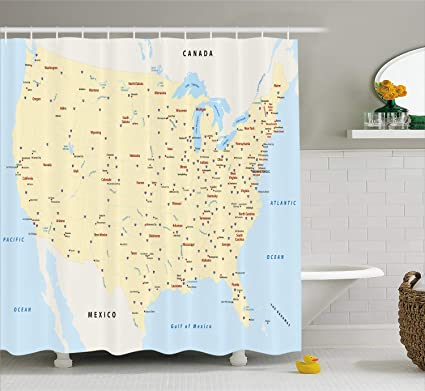 Ambesonne Map Shower Curtain, United States Interstate Map America Cities  Travel Destinations Road Route, Fabric Bathroom Decor Set with Hooks, 84 ...