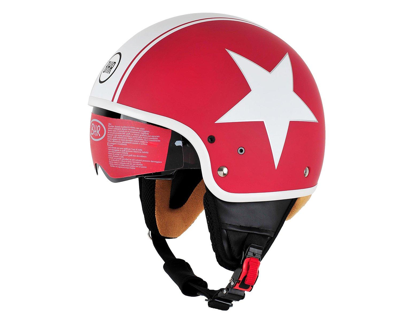 CASCO MOTO BHR DEMI-JET MOD PURE 802 COLORE ROSSO E BAINCO STAR TAGLIA XL