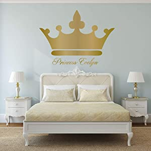 Personalized Name Princess Crown Home Decor | Vinyl Wall Decals | Princess Crown With Custom Name Vinyl Art - Woman, Teenager, Girl, or Baby Decorations