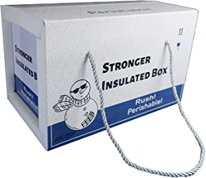 ARCTECH Detachable insulated shipping foam box with rope,outside: 12.5x8x8'' inside: 9.5x6x6'' delivery mailing package packaging carton for fresh, frozen sea food, milk, meat. gift box