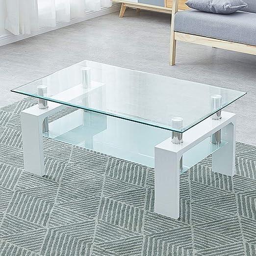 CLIPOP Mesa de café rectangular de cristal para sala de estar ...