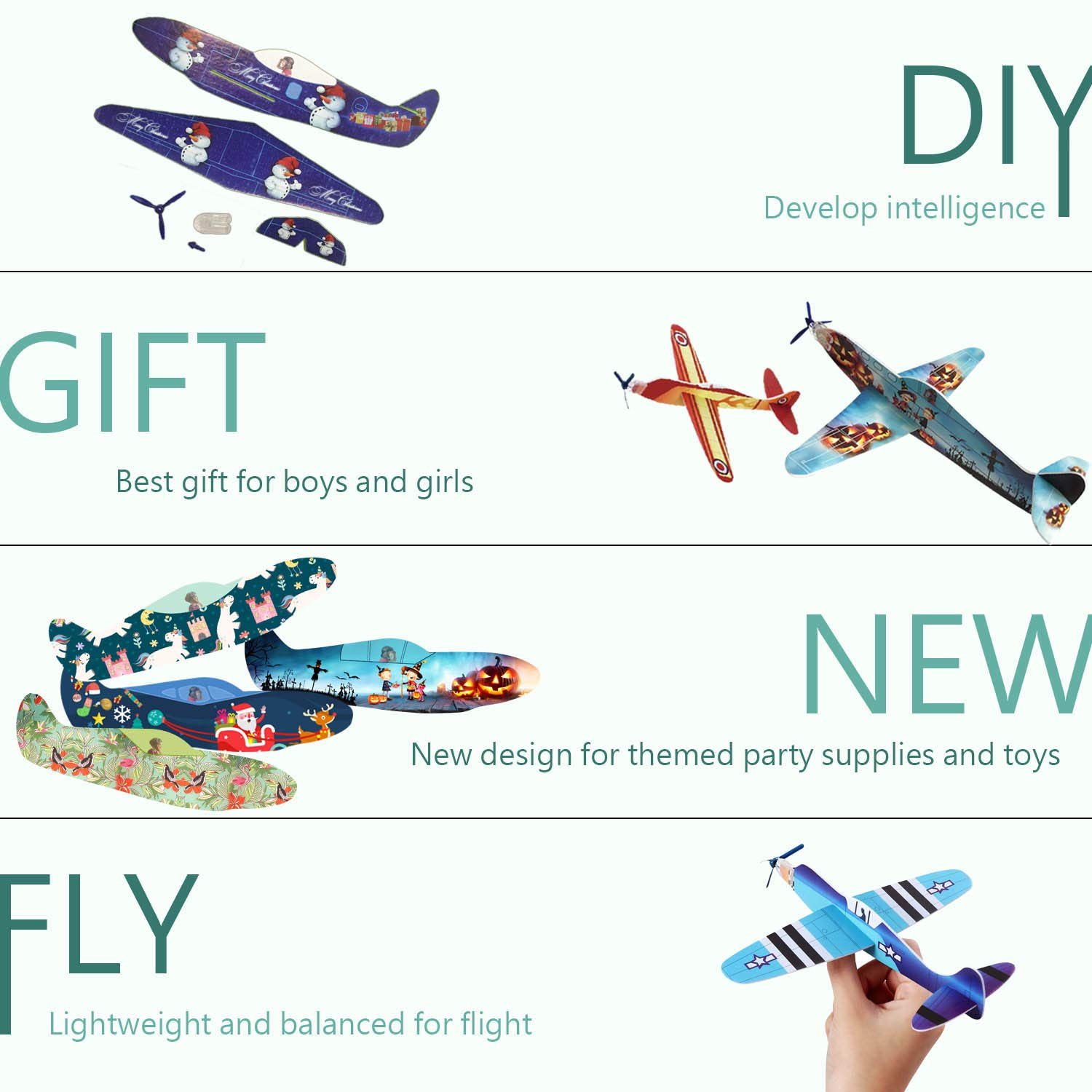 Smilkat Glider Plane Party Favors - 12 New Models 24 Pack 8 inch Flying Styrofoam Airplanes, Easy Assembly, Kids Toy for Birthday Party, School Classroom Rewards Carnival Prizes by Smilkat (Image #4)