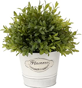 Artificial Boxwood Topiary Faux Topiary Tree Small Topiary Plants Fake Cedar Ball Shaped Topiary Plants in Metal Pot for Home Farmhouse Fireplace Indoor or Outdoor Decor
