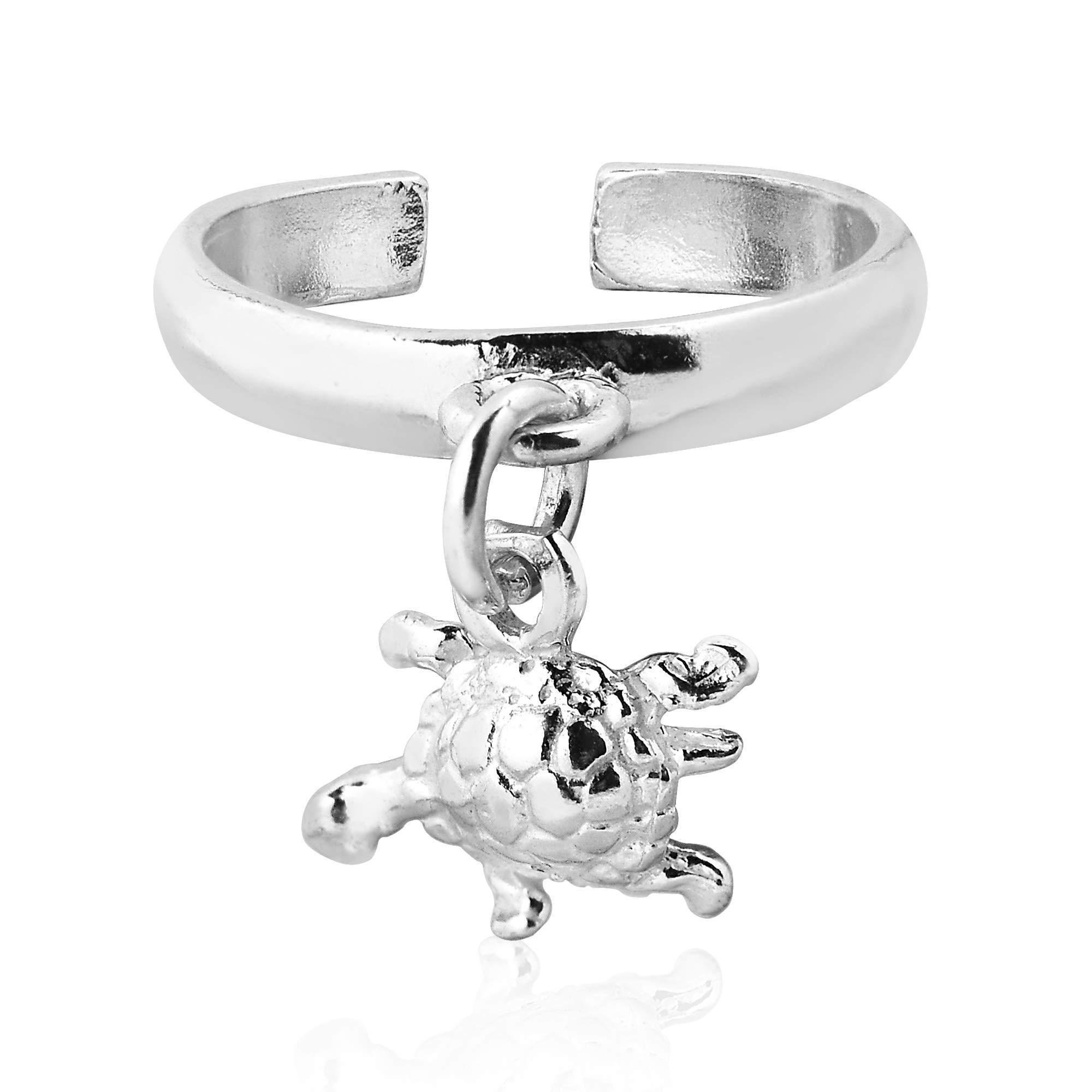 AeraVida Cute Dangling Little Turtle .925 Sterling Silver Toe or Pinky Ring by AeraVida