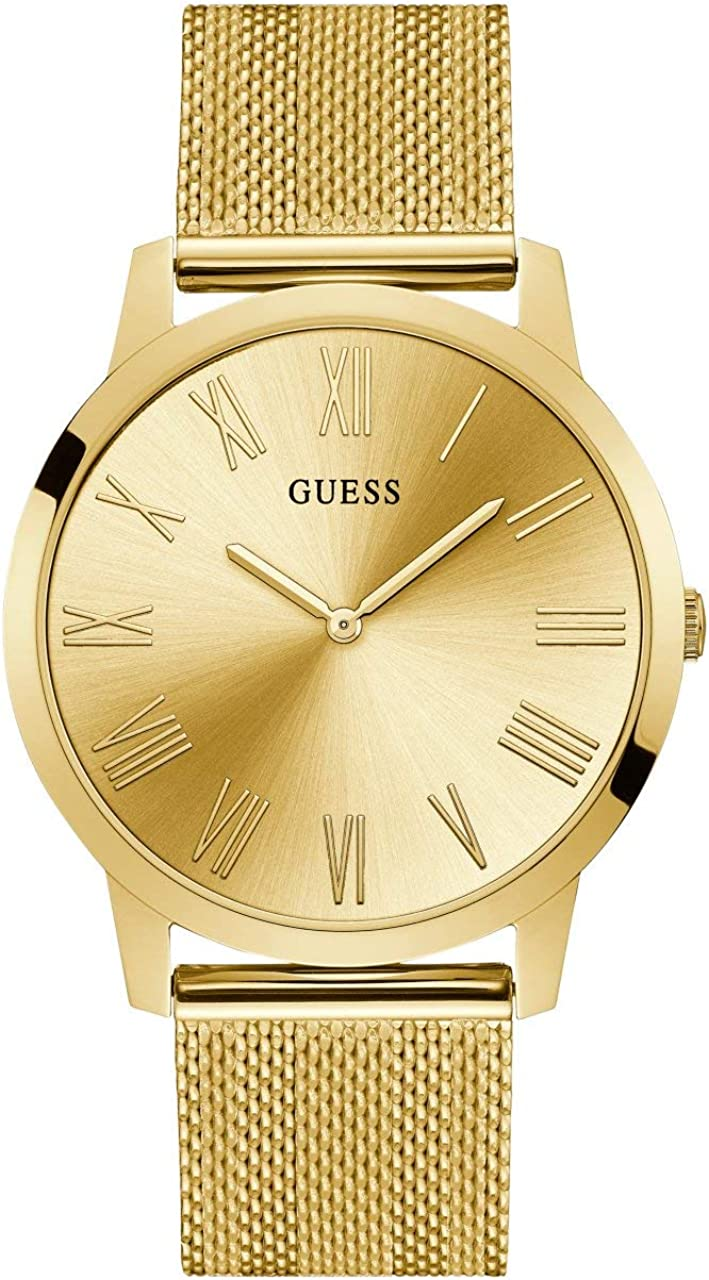 GUESS Gold-Tone Stainless Steel Mesh Bracelet Watch. Color Gold-Tone Model U1263G2