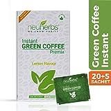 Neuherbs® Instant Green Coffee Premix with Lemon Flavour for Weight Management (20+5 Sachet), Each 3g